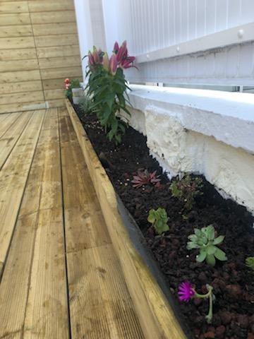 Bac a fleurs le long terrasse en bois