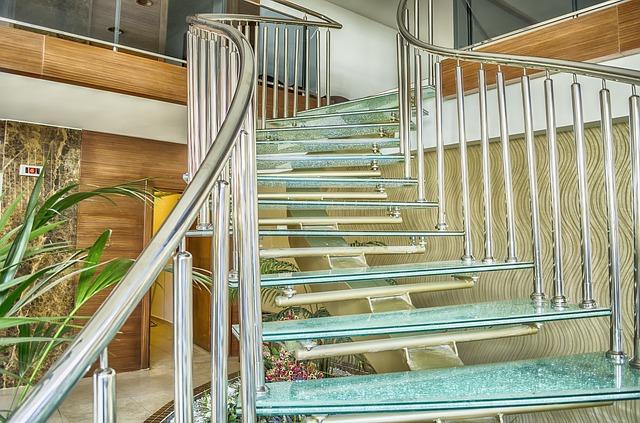 escalier limon central verre